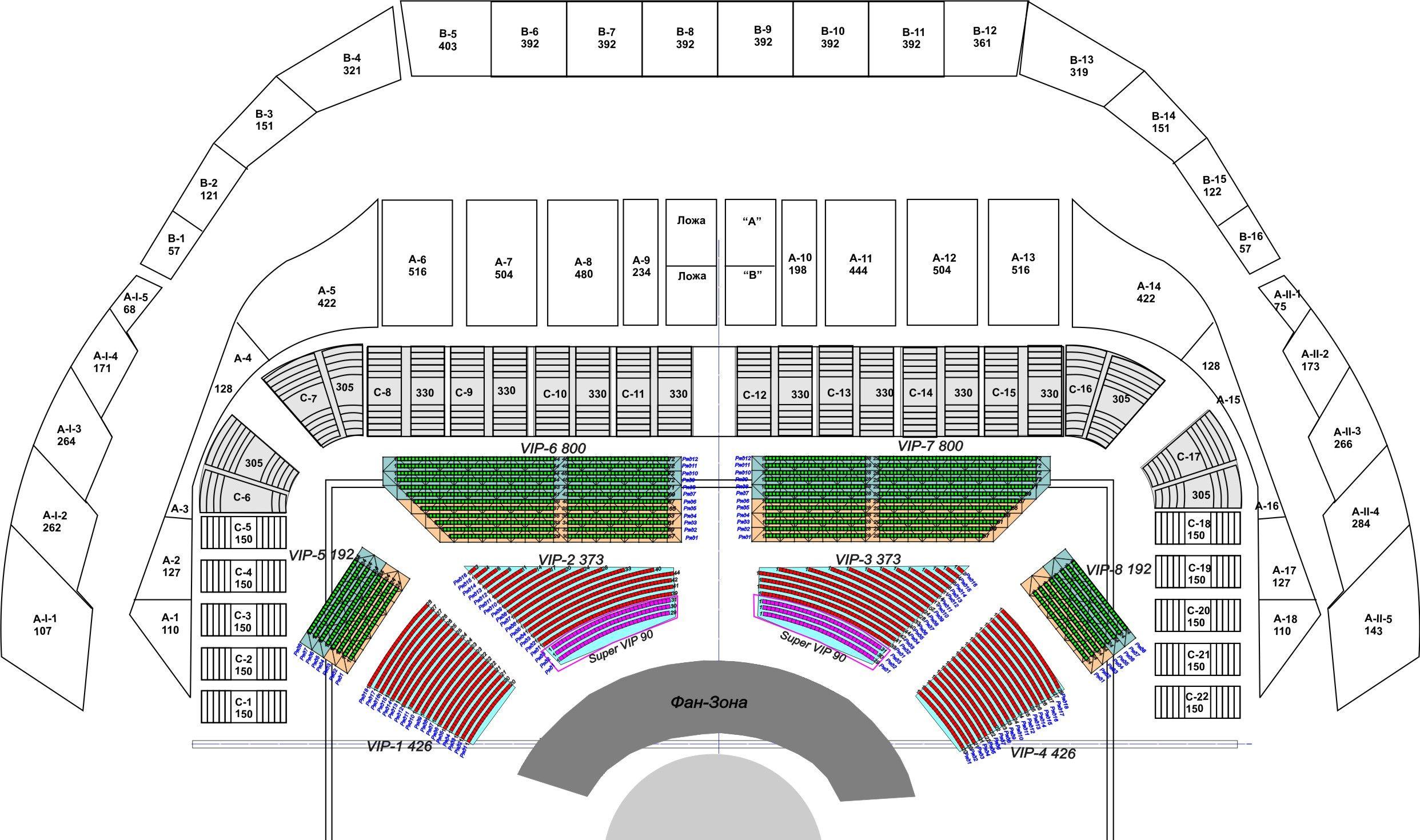схема зала олимпийского с местами