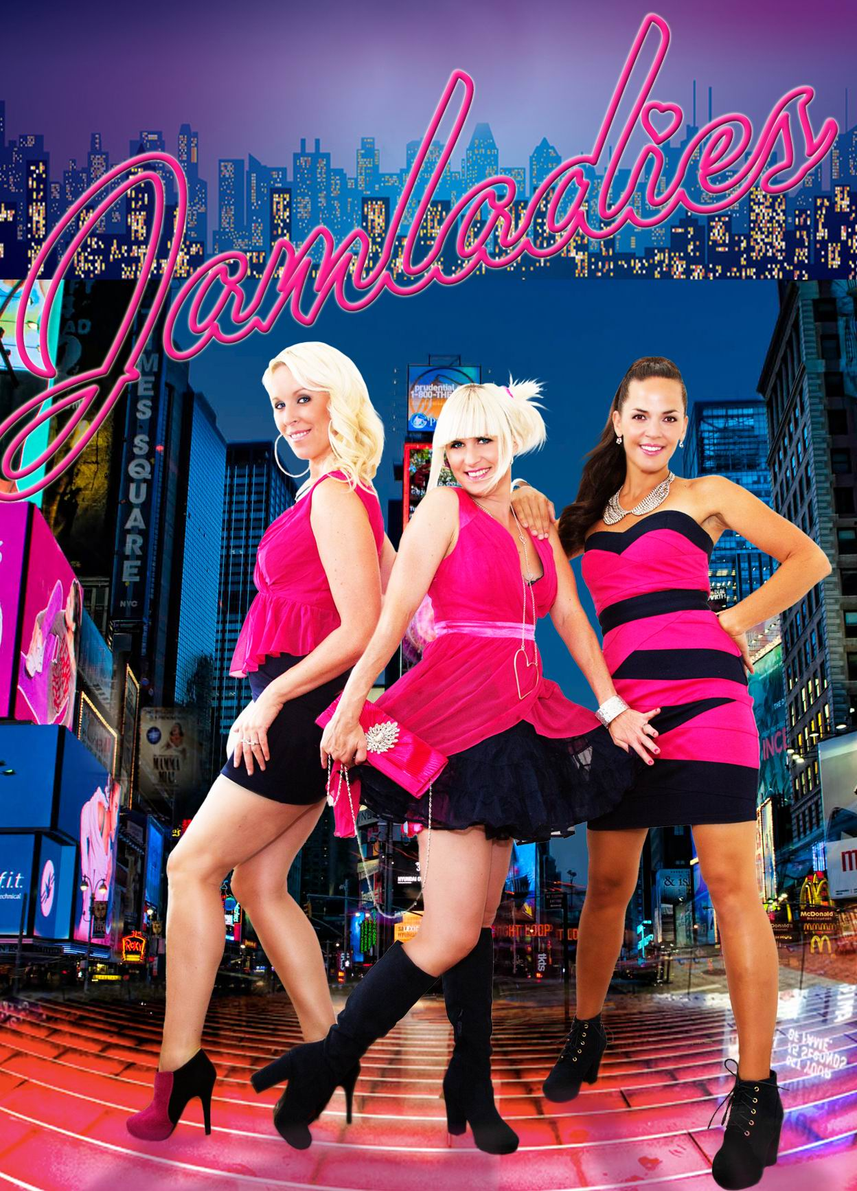 Jenny Tärneberg (left) and Anna Strandberg (middle) as members of JamLadies