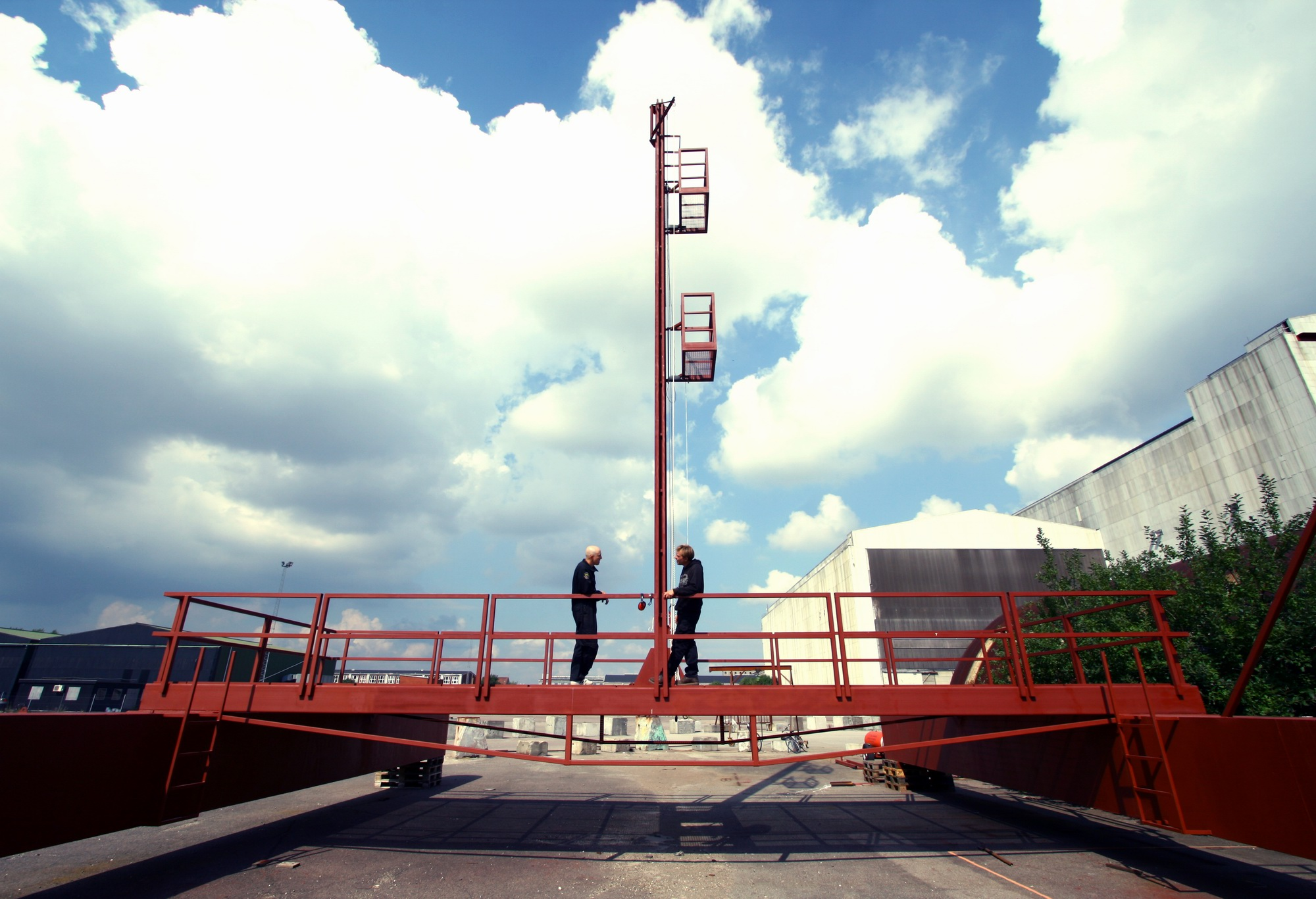 Founders of the project Kristian von Bengtson and Peter Madsen on the Mobile Launch Platform with Eurovision venue on the background. Photo:Erik Sellgren